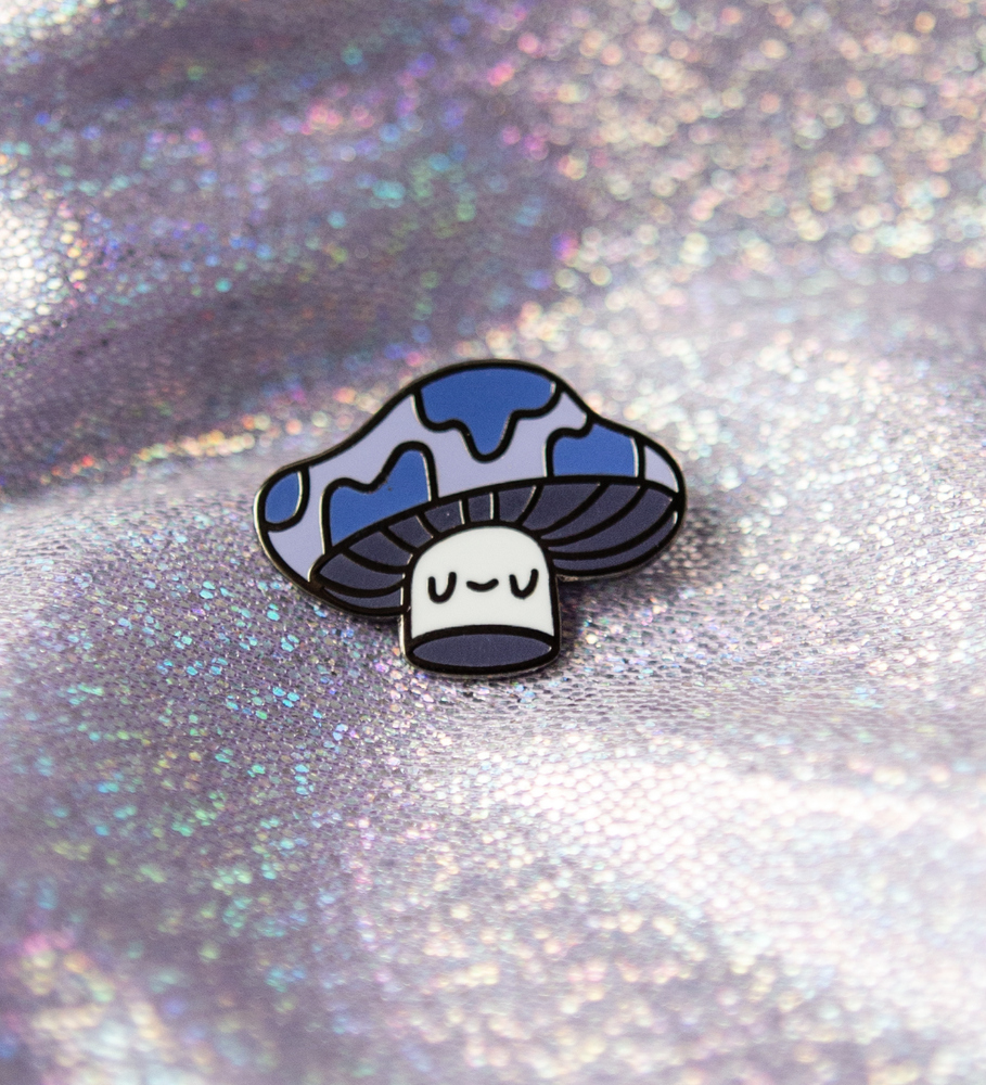 Image of Blue Shroom Baby Enamel Pin