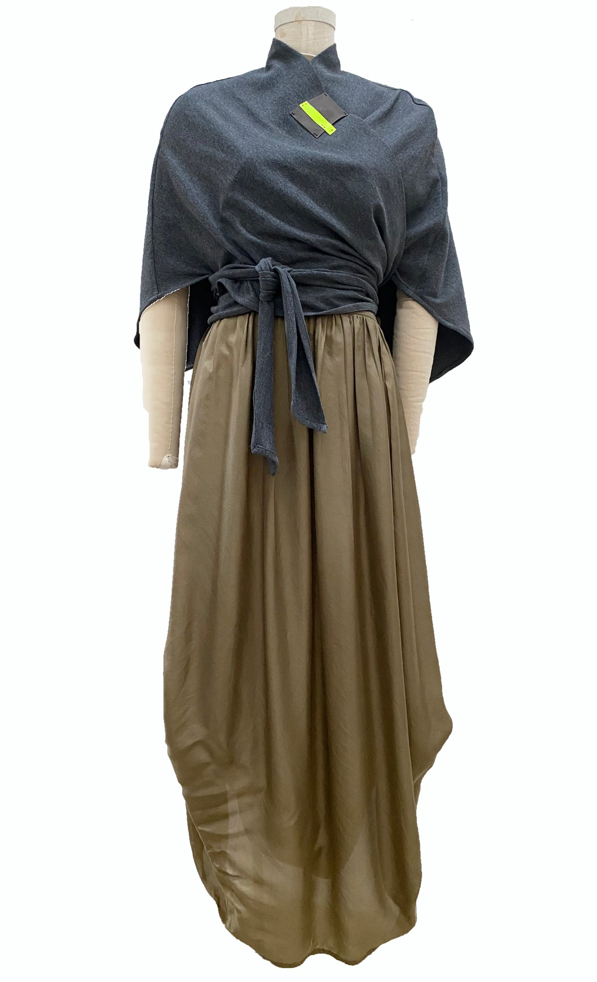 Image of gray wrap with taupe and neon detail