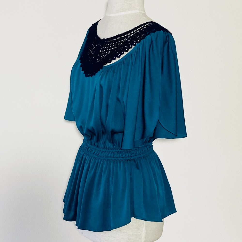 Image of Turquoise and Midnight Angela Blouse