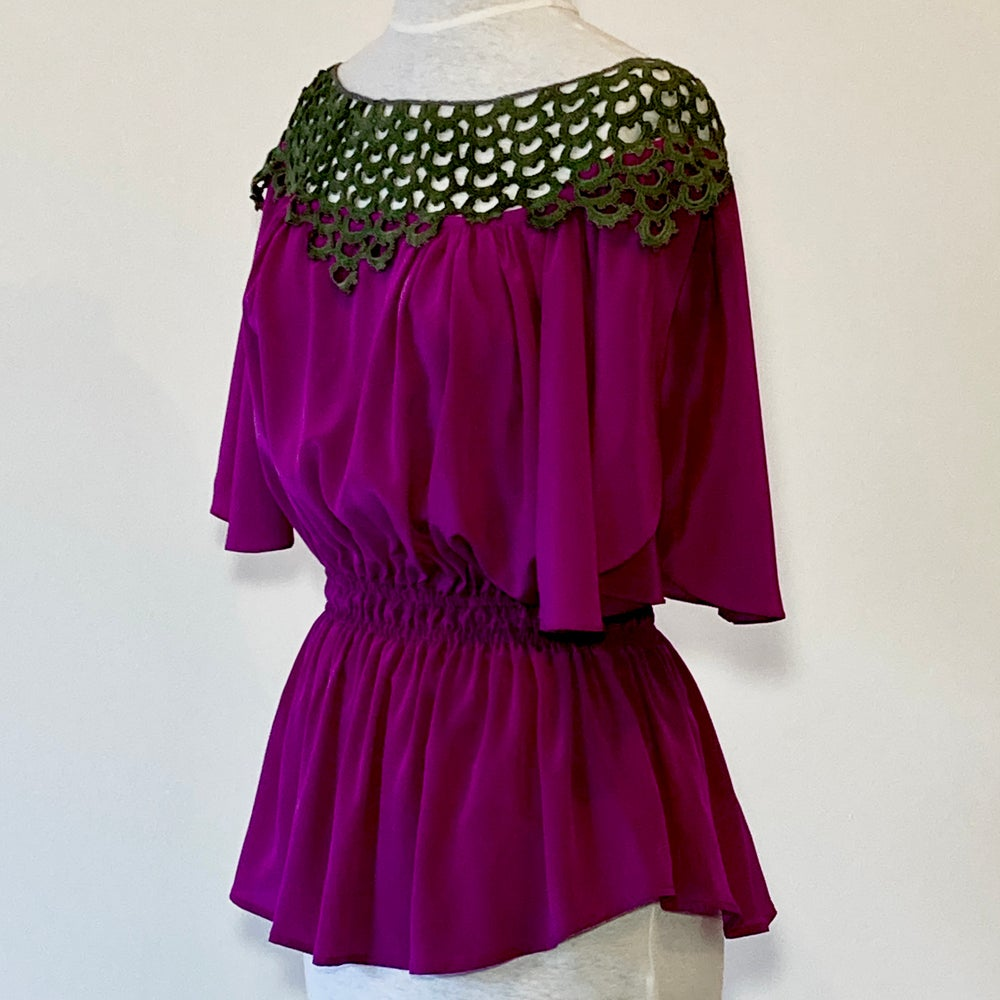 Image of Fuchsia and Forest  Angela Blouse
