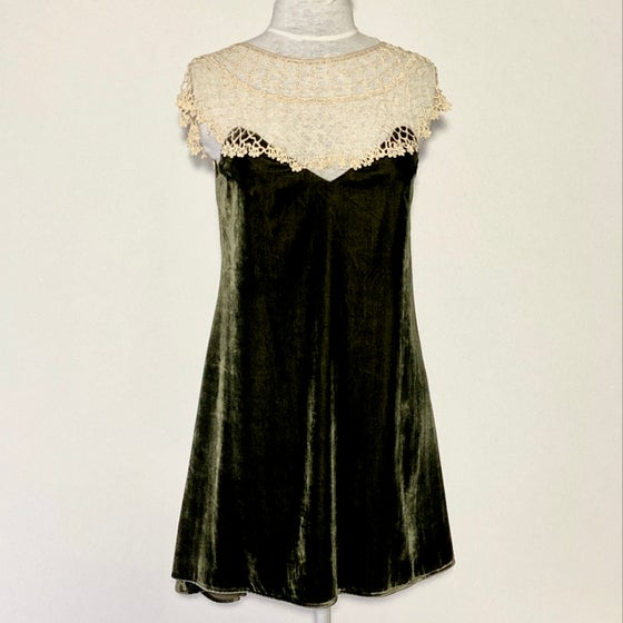 Image of Velvet Olive and Cream  Emma Dress