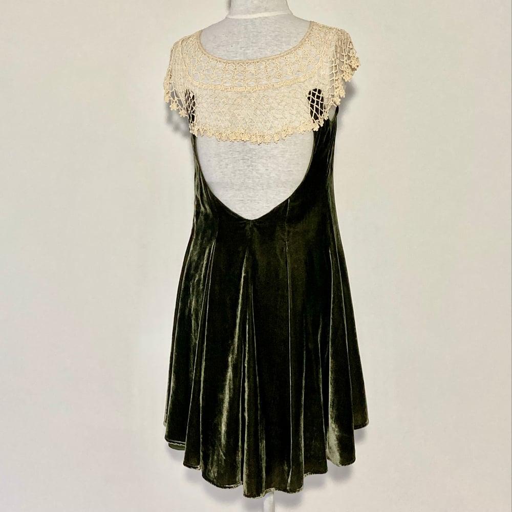 Image of Velvet Olive and Cream  Emma Dress