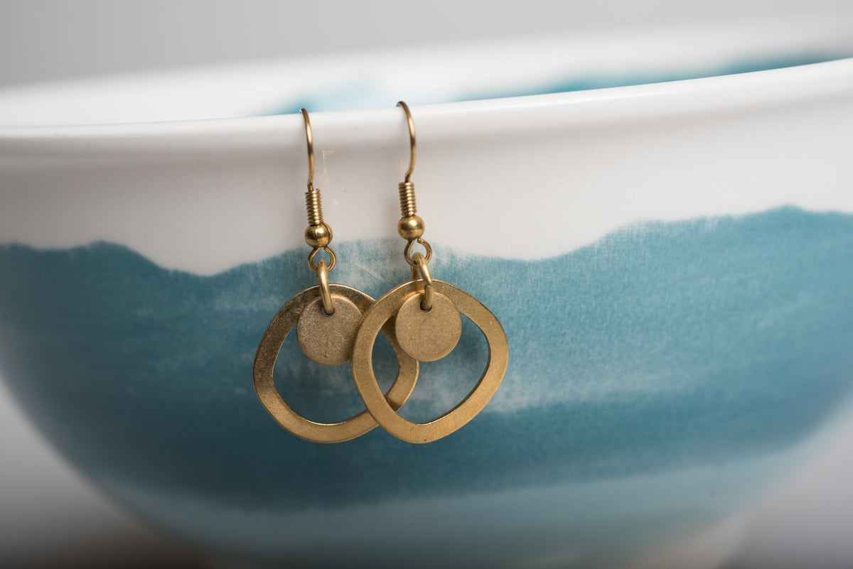 Image of Brass Circle Duo Earrings