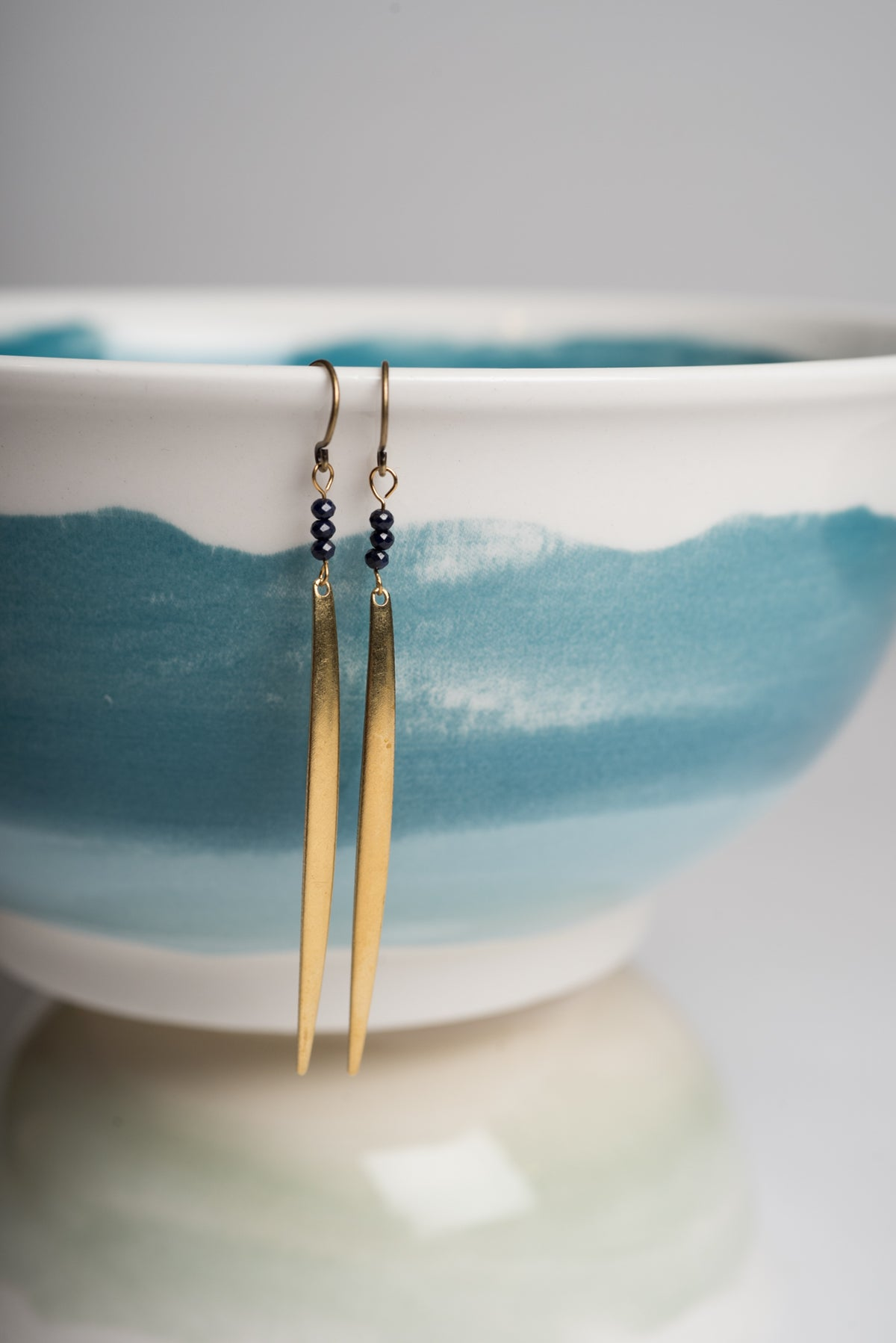 Image of Blue Sapphire and Brass Tine Earrings