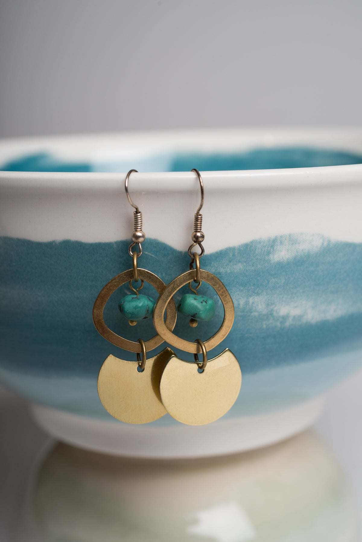 Image of Brass and Turquoise Circle Earrings