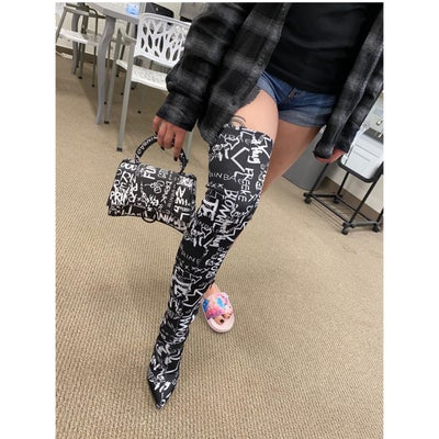 Image of Gisele Print Over The Knee Boots