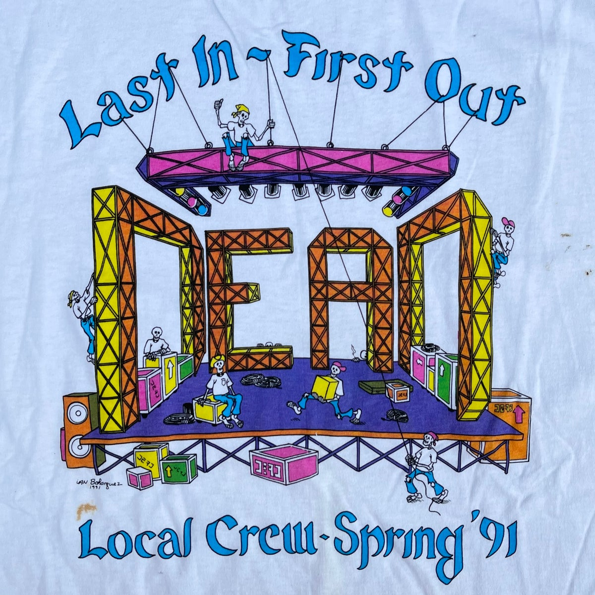 Original Vintage Grateful Dead 1991 Local Crew Tee! Large