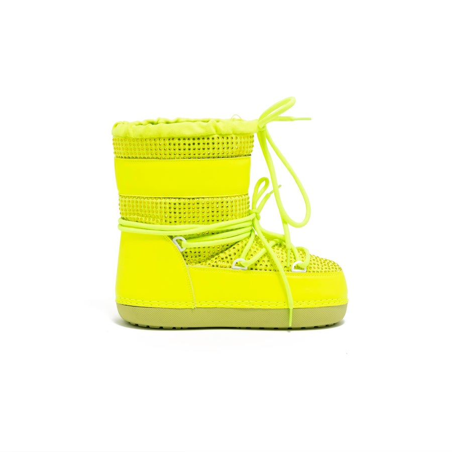 Image of POLAR SNOW ANGEL LACE UP FUR MOON BOOTS-HOLO