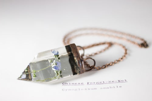 Image of Chinese Forget-Me-Not (Cynoglossum amabile) - Small Copper Prism Necklace #3