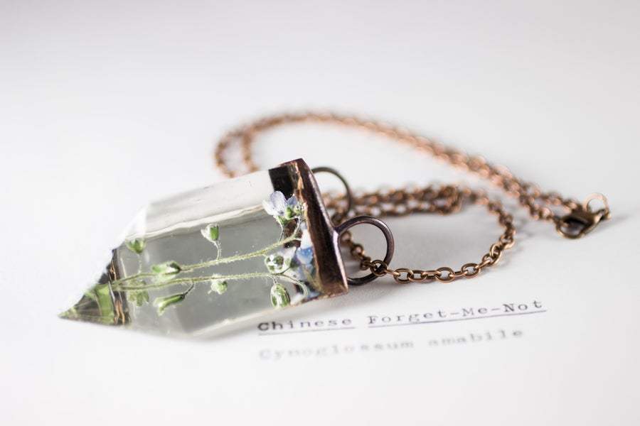 Image of Chinese Forget-Me-Not (Cynoglossum amabile) - Small Copper Prism Necklace #4