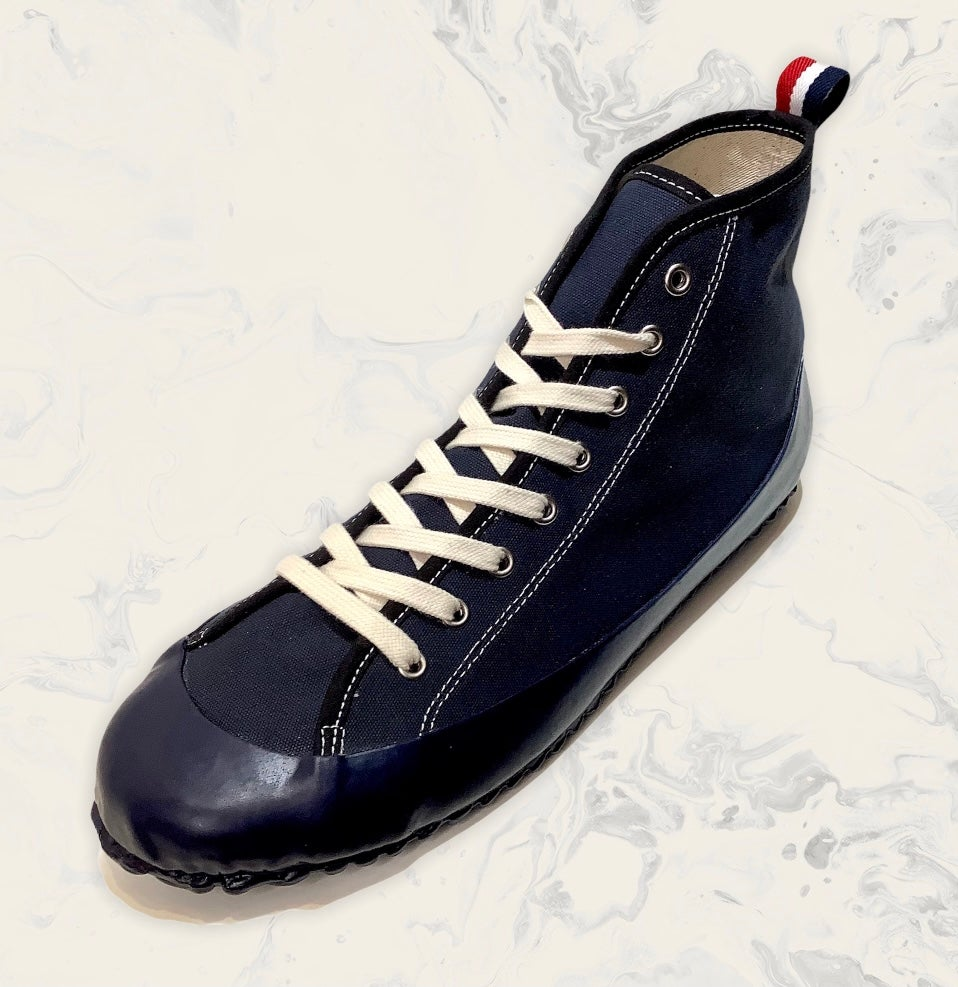 Image of ALLX x Quarter416 marine hi top deck shoes made in Romania