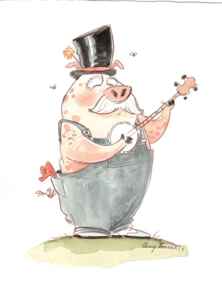 Image of Top Hat Banjo Pig (5.5x7)