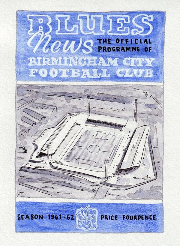 Image of Vintage Birmingham City FC programme cover