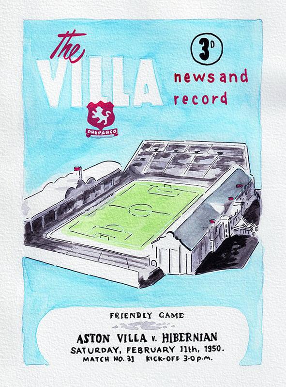 Image of Vintage Aston Villa FC programme front page