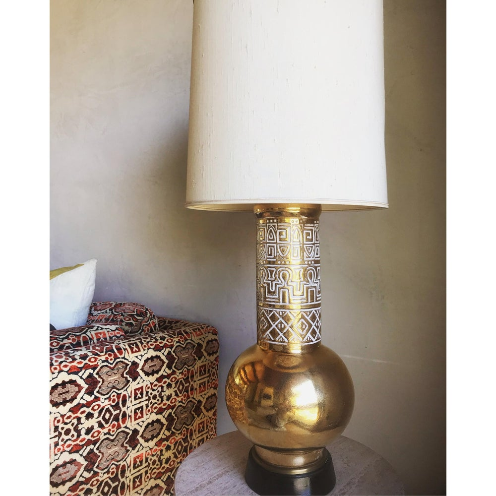 Image of Was $1150 Rare Monumental Mid Century Modern Stiffel Egyptian Revival Ceramic Hieroglyphic Lamp