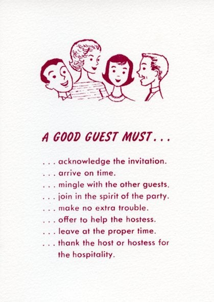 Image of A Good Guest Must... Greeting Card