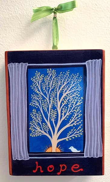 Image of Hope- illumination series print on wooden plaque