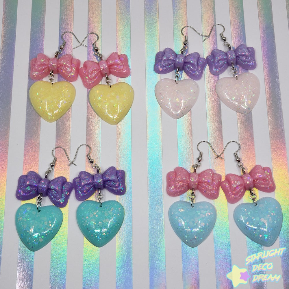 Image of Balloon Bow + Heart Pierce Earrings Style Selection A / Choose a Pair