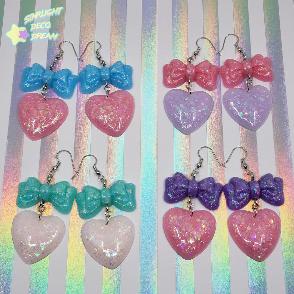 Image of Balloon Bow + Heart Pierce Earrings Style Selection B / Choose a Pair