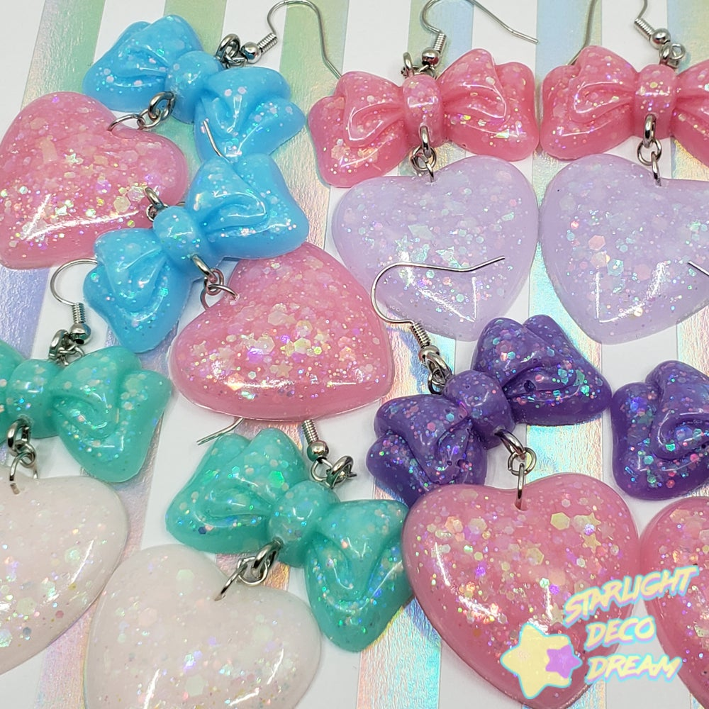 Image of Balloon Bow + Heart Pierce Earrings Style Selection B / Choose a Pair