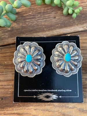 Sterling & Turquoise Concho Earrings