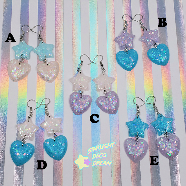Image of Star and Heart Pierce Earrings Blues Selection / Choose a Pair