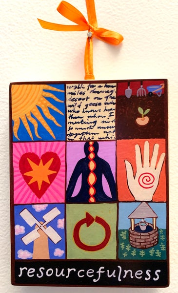 Image of Resourcefulness- illumination series print on wooden plaque