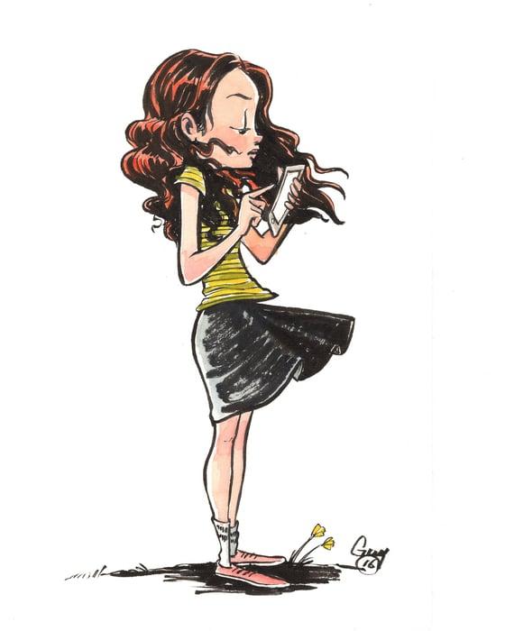 Image of Girl on Phone (6x9.5)
