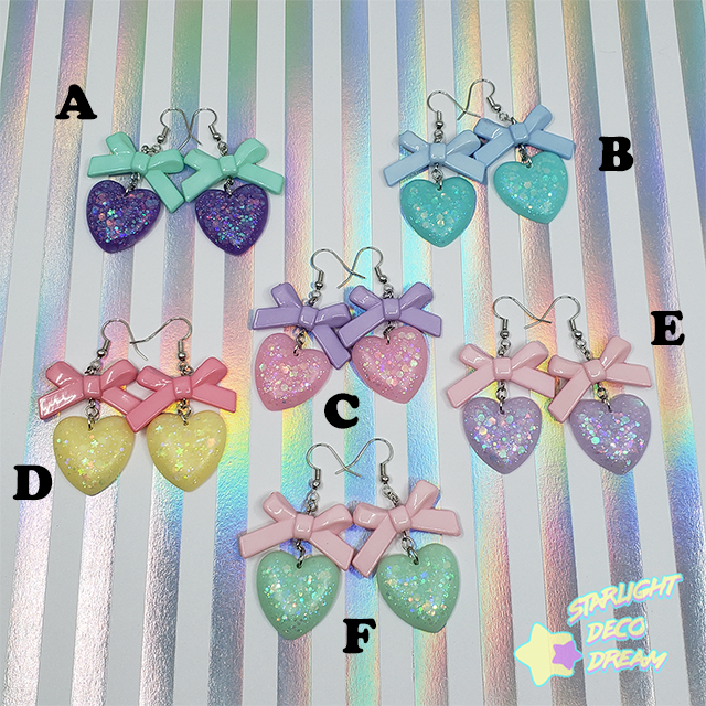 Image of Delicate Ribbon and Heart Earrings Style Selection A / Choose a Pair