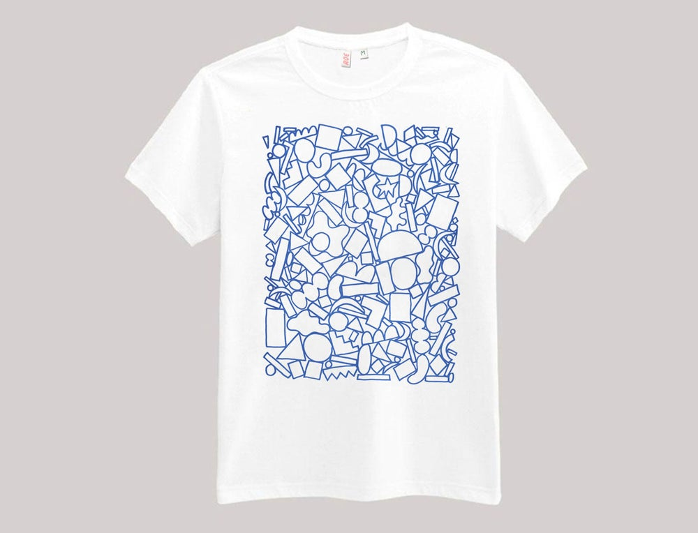 Image of PILE OF SHAPES TSHIRT BLUE