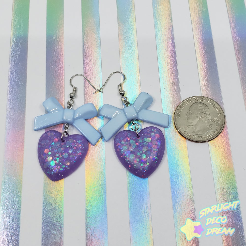 Image of Delicate Ribbon and Heart Earrings Style Selection B / Choose a Pair