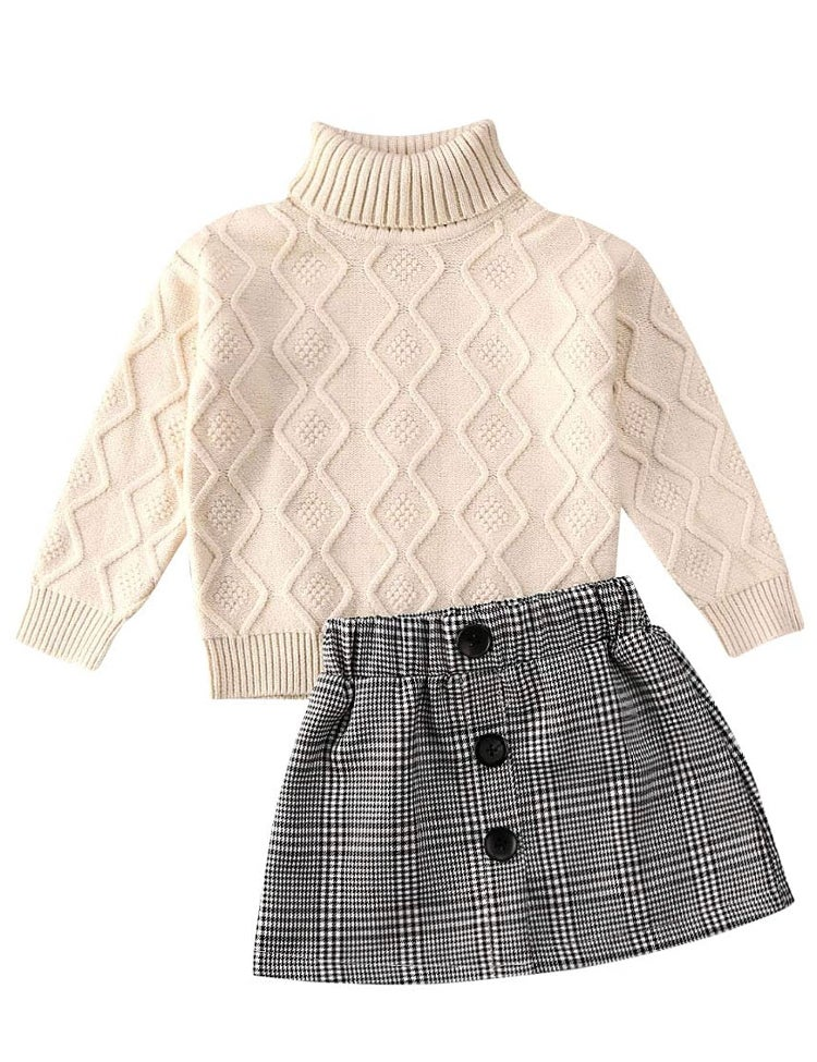 Image of Plaid Skirt & Sweater Set