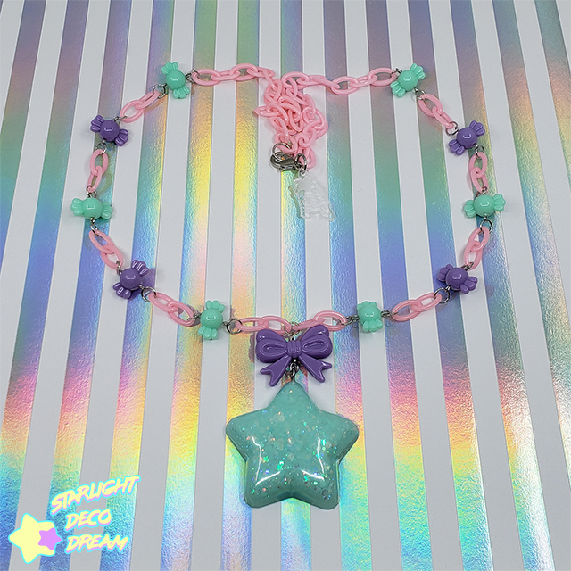 Image of Mint Chubby Star & Purple Bow with Candy Beads Necklace