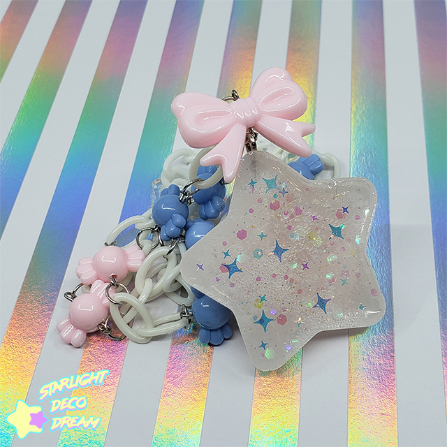 Image of White Chubby Star with Candy Beads Necklace