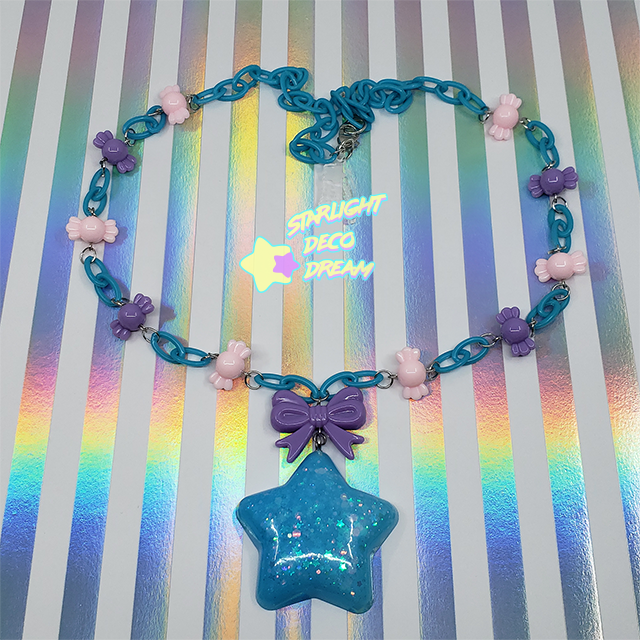 Image of Blue Chubby Star & Purple Bow with Candy Beads Necklace
