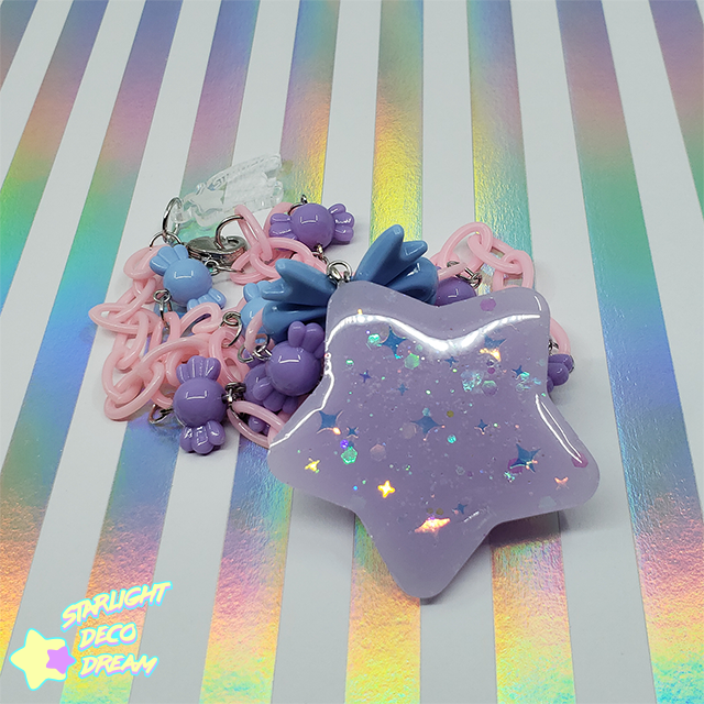 Image of Lavender Chubby Star with Candy Beads Necklace