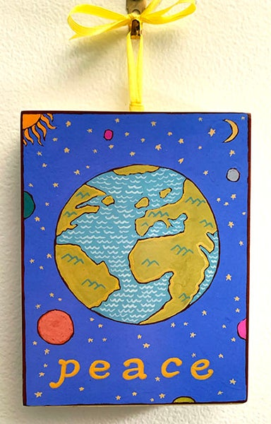 Image of Peace- illumination series print on wooden plaque
