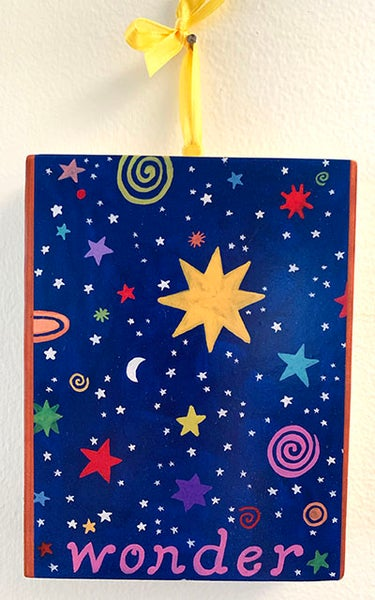Image of Wonder- illumination series print on wooden plaque