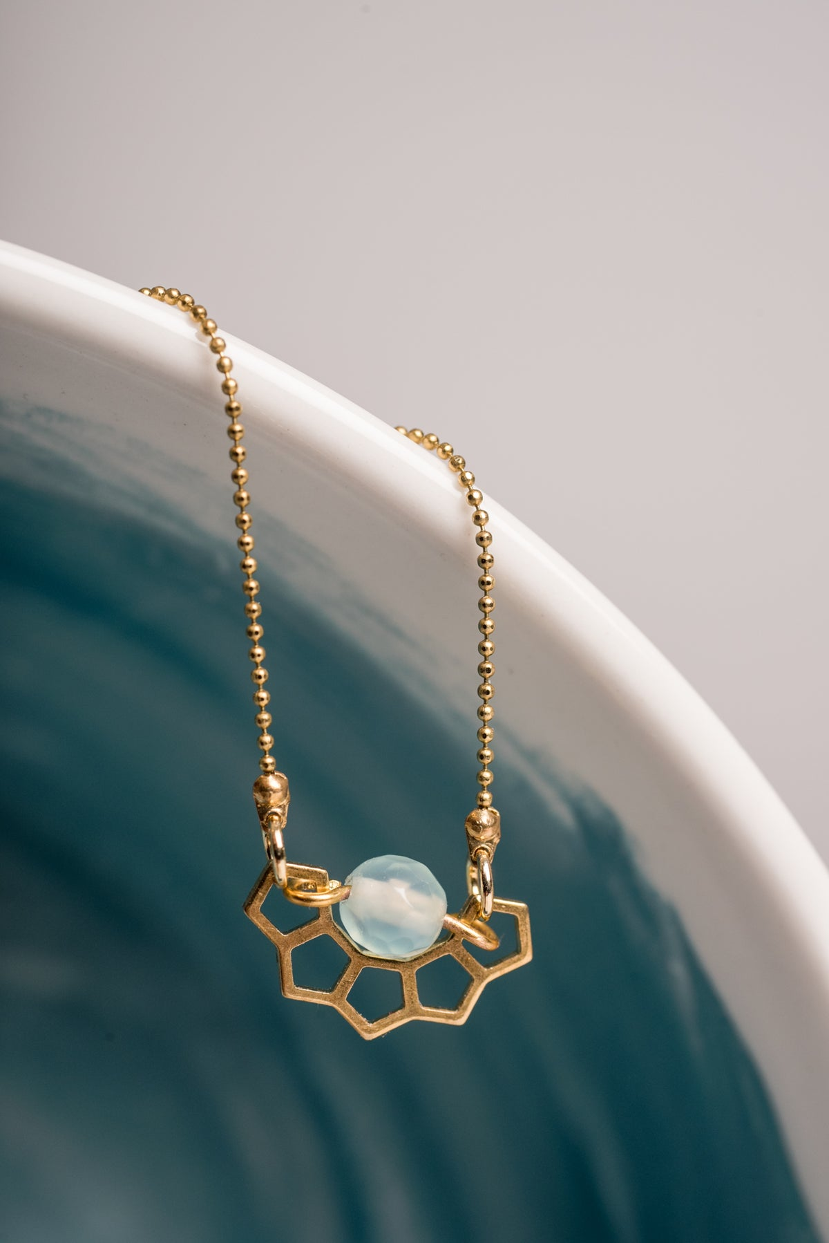 Image of Honey and Agate Brass Necklace