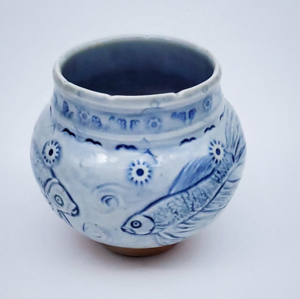 Image of Woodfired Beta Fish Handcarved Vessel