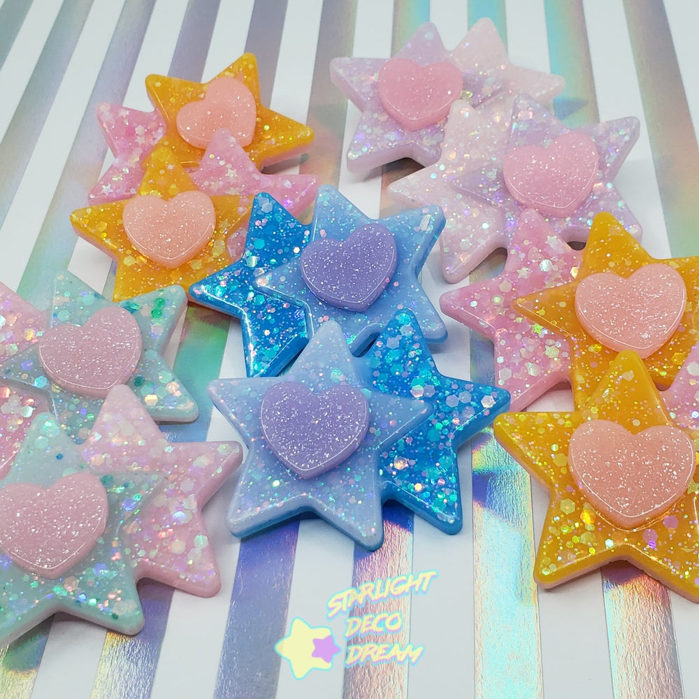 Image of Double Star and Heart Hair Clip Set of 2