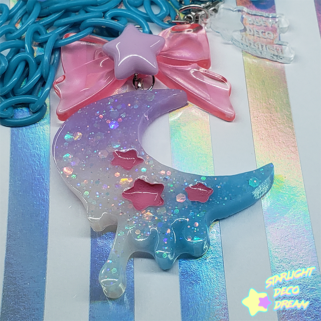 Image of Blue, Pink, Lavender Gradient Melting Moon Necklace