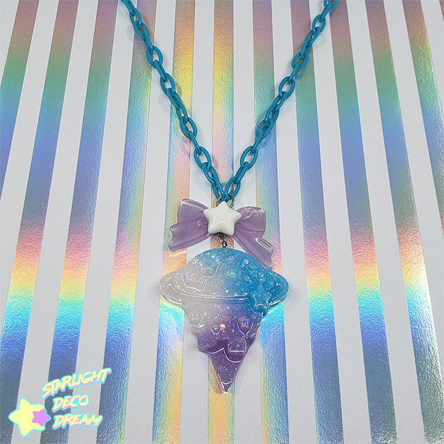 Image of Gradient Blue Galaxy Cone Necklace