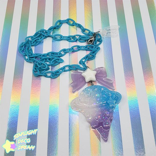 Image of Gradient Blue Galaxy Cone Necklace