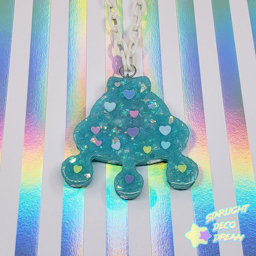 Image of Fancy Flying Friends - Bunny's Deep Mint Green Space Ship Necklace