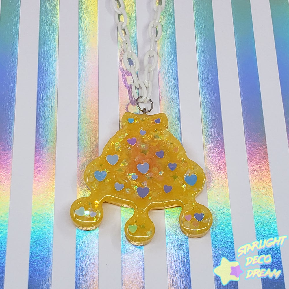 Image of Fancy Flying Friends - Bunny's Yellow Space Ship Necklace