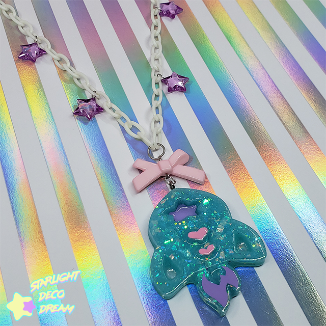 Image of Blast OFF into Space! Cutie Deep Mint Rocket Necklace