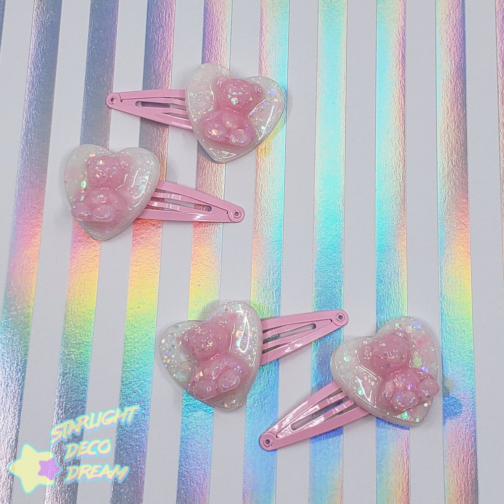 Image of Candy Bear Sweetheart Hair Clips / Confetti Pink and White