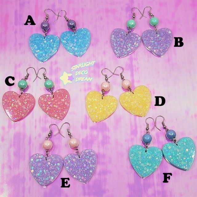 Image of Fancy Pop Heart Earrings