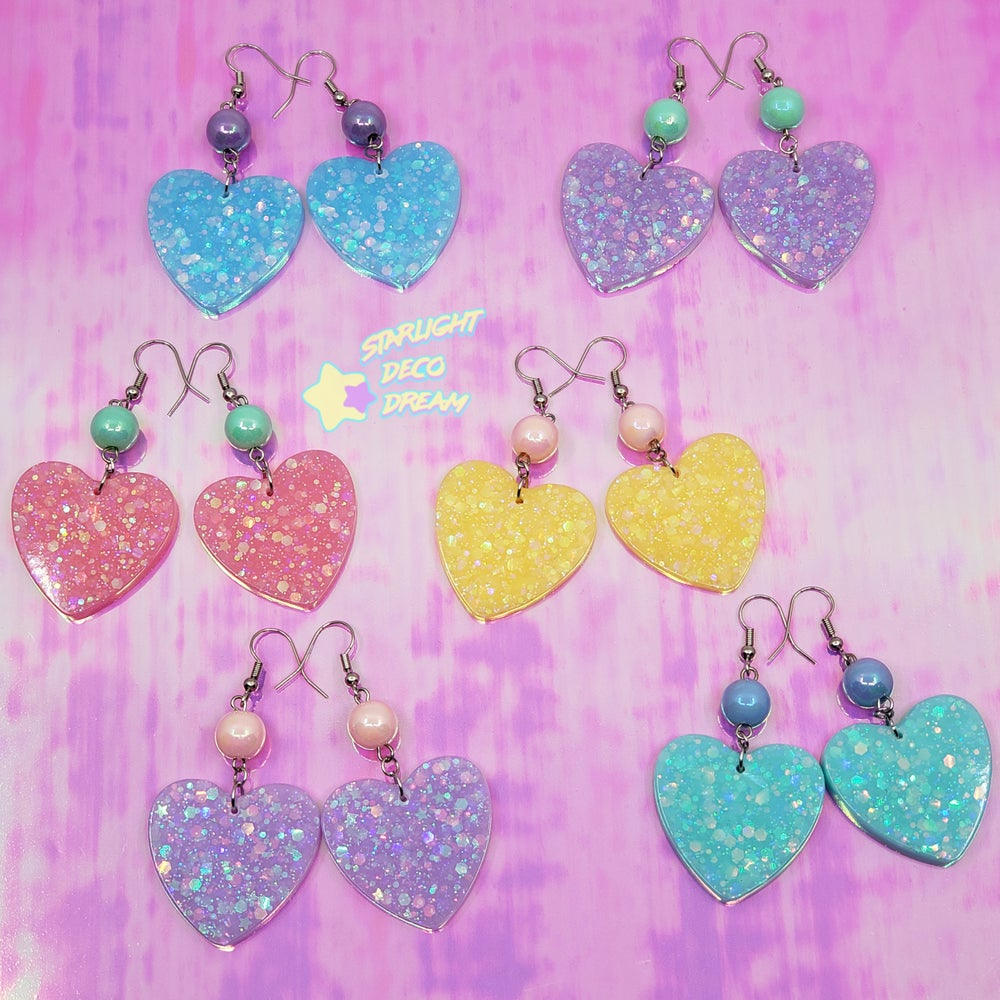 Image of Fancy Pop Heart Earrings